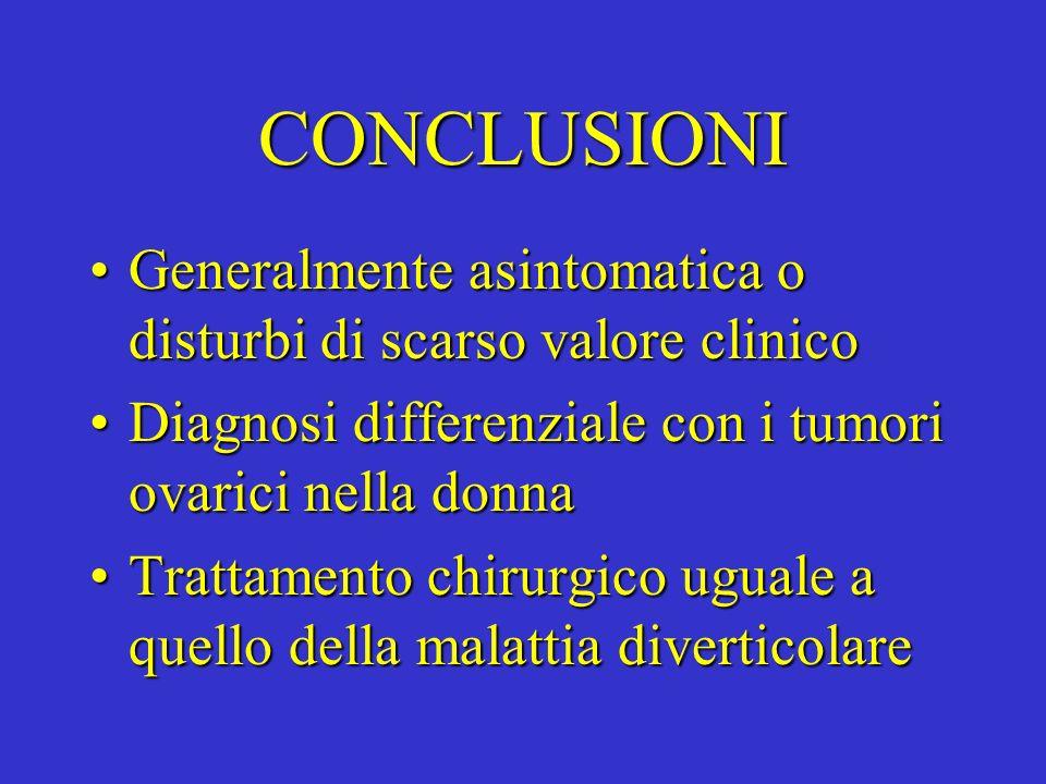 CONCLUSIONI Generalmente asintomatica o disturbi di scarso valore clinicoGeneralmente asintomatica o disturbi di scarso valore clinico Diagnosi differ