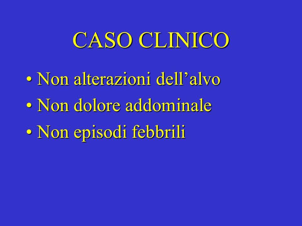 CASO CLINICO Non alterazioni dellalvoNon alterazioni dellalvo Non dolore addominaleNon dolore addominale Non episodi febbriliNon episodi febbrili