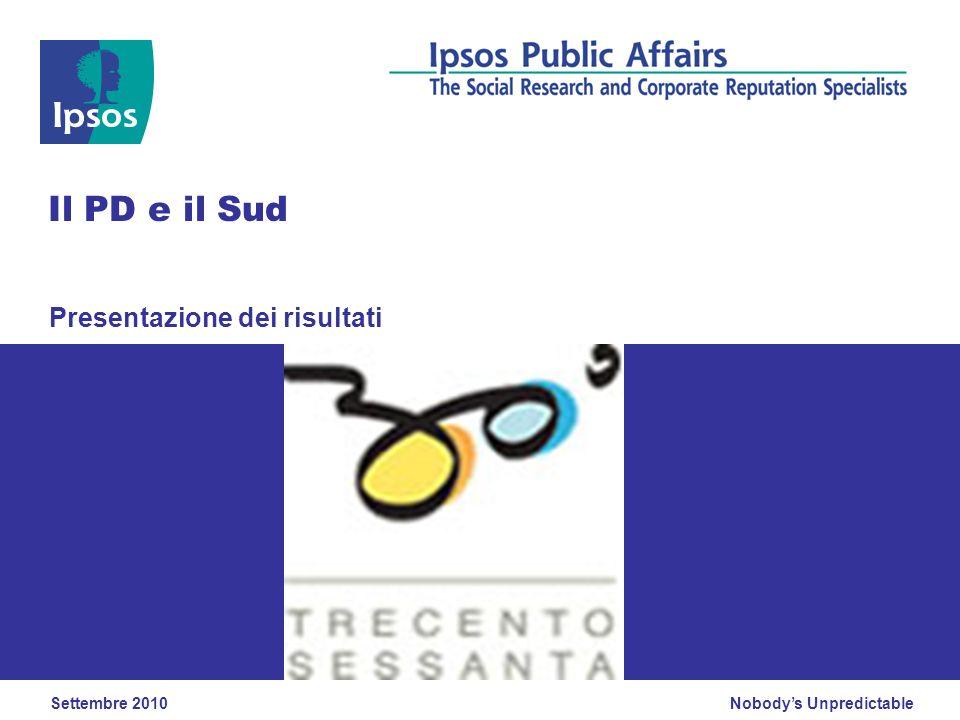 Nobodys Unpredictable Presentazione dei risultati Il PD e il Sud Settembre 2010