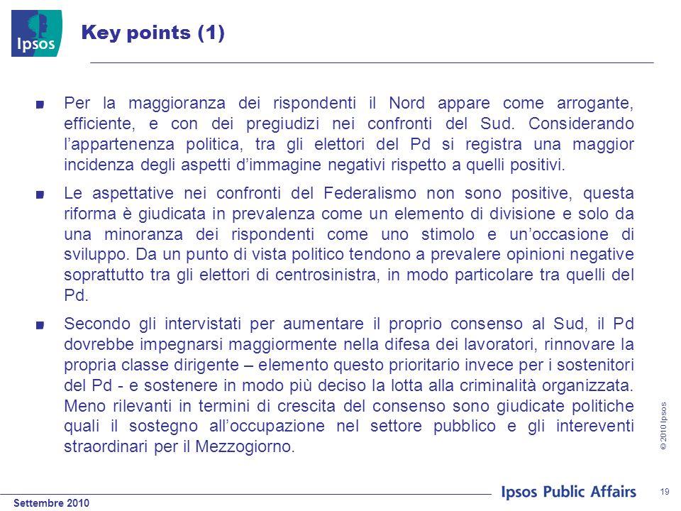 Settembre 2010 © 2010 Ipsos 19 Key points (1) Per la maggioranza dei rispondenti il Nord appare come arrogante, efficiente, e con dei pregiudizi nei c