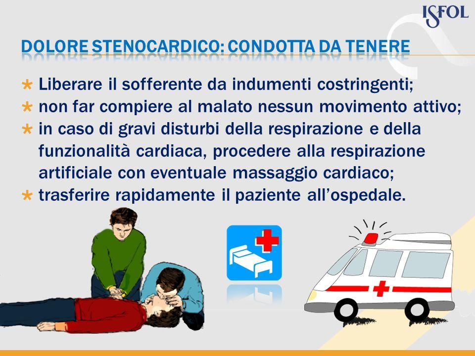 Liberare il sofferente da indumenti costringenti; non far compiere al malato nessun movimento attivo; in caso di gravi disturbi della respirazione e d