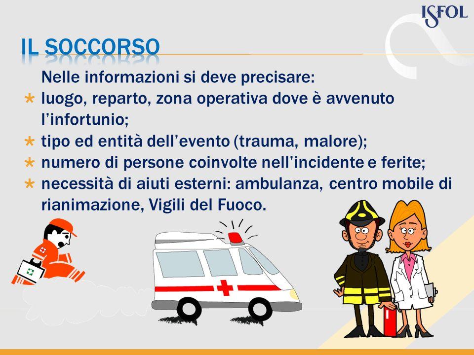 Nelle informazioni si deve precisare: luogo, reparto, zona operativa dove è avvenuto linfortunio; tipo ed entità dellevento (trauma, malore); numero d