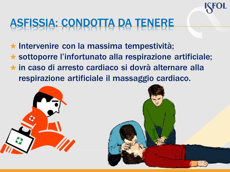Intervenire con la massima tempestività; sottoporre linfortunato alla respirazione artificiale; in caso di arresto cardiaco si dovrà alternare alla re