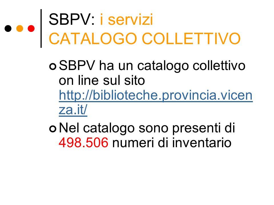 SBPV: i servizi CATALOGO COLLETTIVO SBPV ha un catalogo collettivo on line sul sito http://biblioteche.provincia.vicen za.it/ http://biblioteche.provi