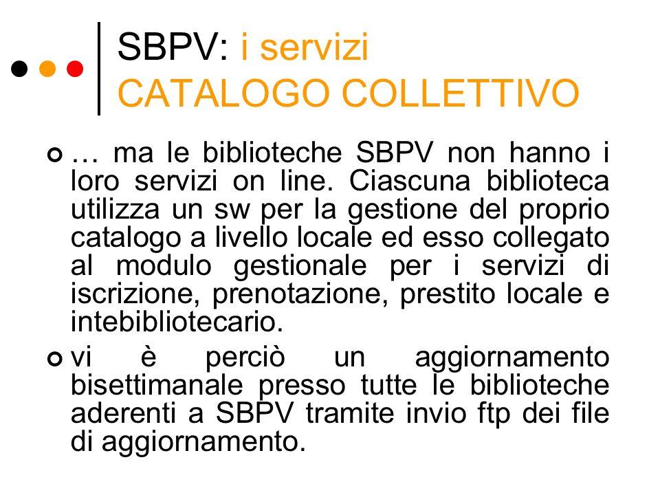SBPV: i servizi CATALOGO COLLETTIVO … ma le biblioteche SBPV non hanno i loro servizi on line. Ciascuna biblioteca utilizza un sw per la gestione del