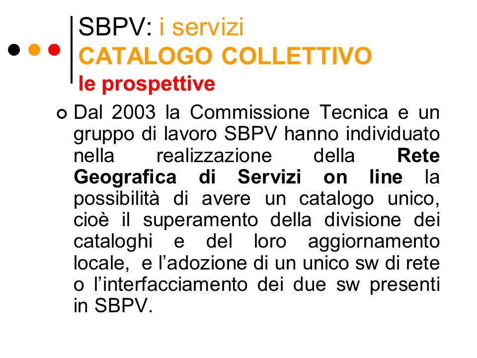 SBPV: i servizi CATALOGO COLLETTIVO le prospettive Dal 2003 la Commissione Tecnica e un gruppo di lavoro SBPV hanno individuato nella realizzazione de