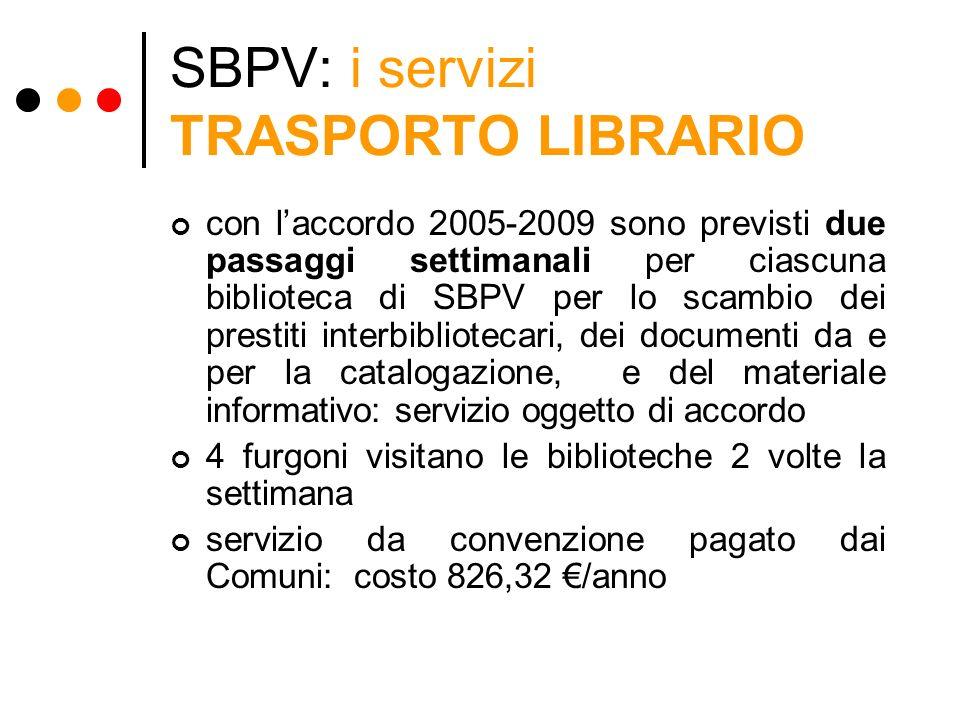 SBPV: i servizi TRASPORTO LIBRARIO con laccordo 2005-2009 sono previsti due passaggi settimanali per ciascuna biblioteca di SBPV per lo scambio dei pr