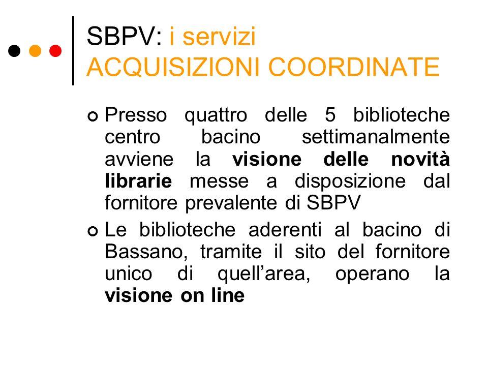 SBPV: i servizi ACQUISIZIONI COORDINATE Presso quattro delle 5 biblioteche centro bacino settimanalmente avviene la visione delle novità librarie mess