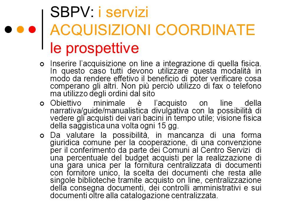 SBPV: i servizi ACQUISIZIONI COORDINATE le prospettive Inserire lacquisizione on line a integrazione di quella fisica. In questo caso tutti devono uti