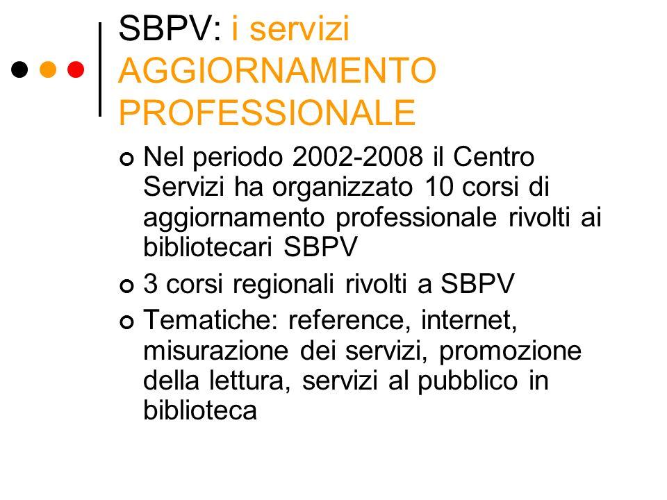 SBPV: i servizi AGGIORNAMENTO PROFESSIONALE Nel periodo 2002-2008 il Centro Servizi ha organizzato 10 corsi di aggiornamento professionale rivolti ai