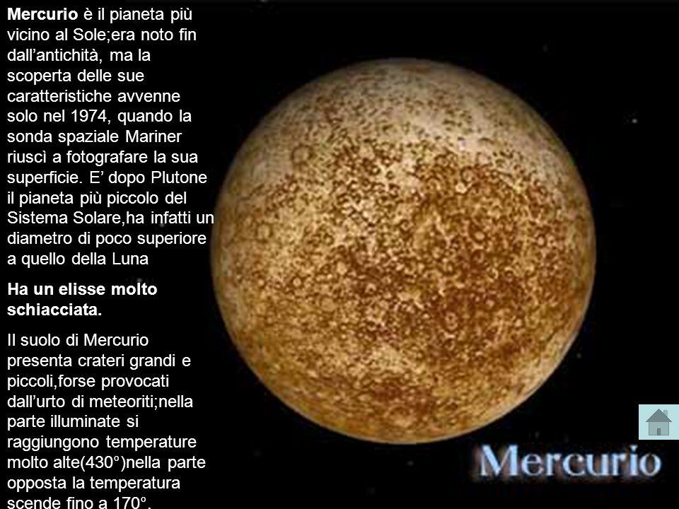 Mercurio è il pianeta più vicino al Sole;era noto fin dallantichità, ma la scoperta delle sue caratteristiche avvenne solo nel 1974, quando la sonda s