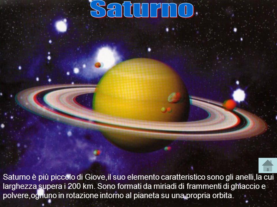 Saturno è più piccolo di Giove,il suo elemento caratteristico sono gli anelli,la cui larghezza supera i 200 km. Sono formati da miriadi di frammenti d