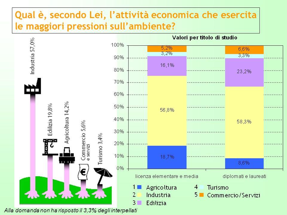 Alla domanda non ha risposto il 3,3% degli interpellati Qual è, secondo Lei, lattività economica che esercita le maggiori pressioni sullambiente?