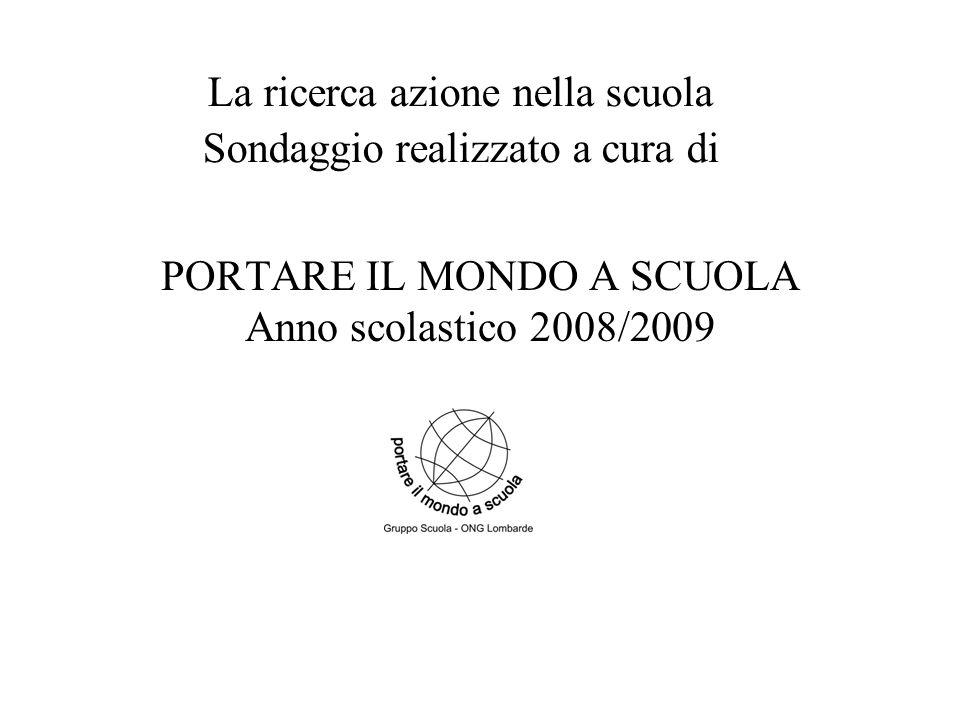 PORTARE IL MONDO A SCUOLA Anno scolastico 2008/2009 La ricerca azione nella scuola Sondaggio realizzato a cura di