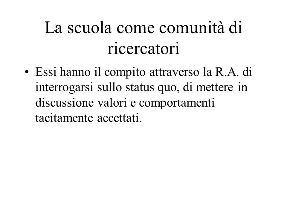 La scuola come comunità di ricercatori Essi hanno il compito attraverso la R.A.