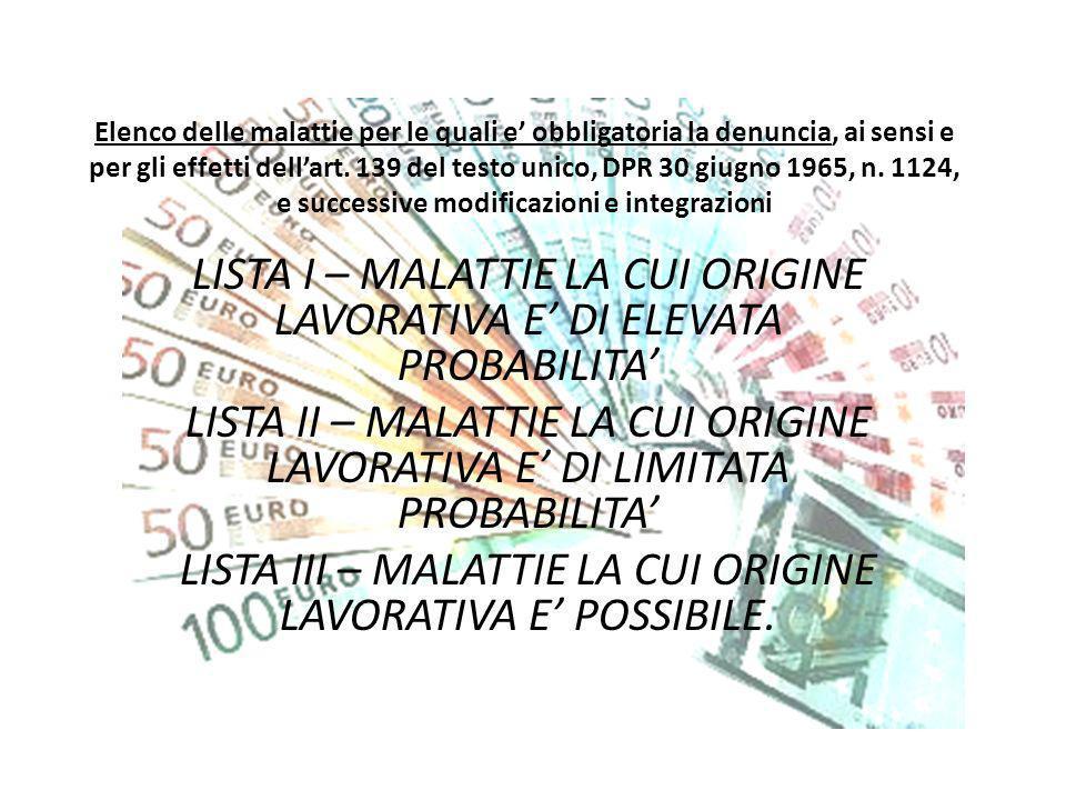 Elenco delle malattie per le quali e obbligatoria la denuncia, ai sensi e per gli effetti dellart. 139 del testo unico, DPR 30 giugno 1965, n. 1124, e