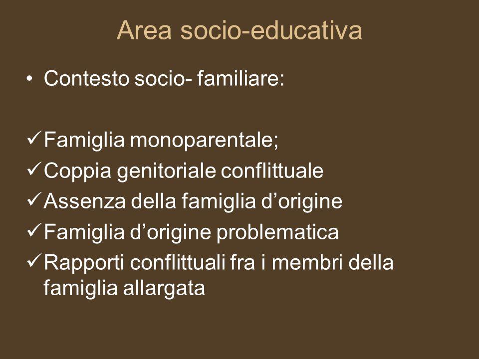 Area socio-educativa Contesto socio- familiare: Famiglia monoparentale; Coppia genitoriale conflittuale Assenza della famiglia dorigine Famiglia dorig
