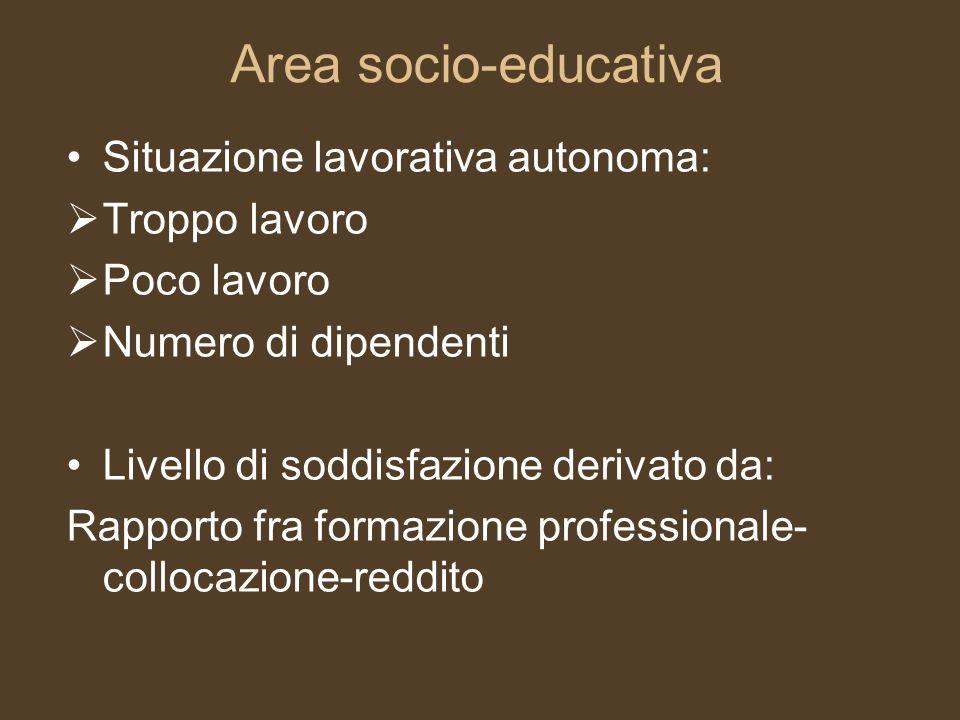 Area socio-educativa Situazione lavorativa autonoma: Troppo lavoro Poco lavoro Numero di dipendenti Livello di soddisfazione derivato da: Rapporto fra
