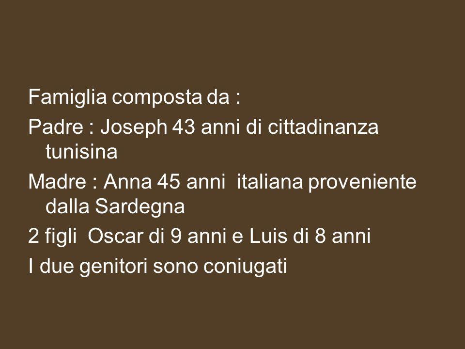 Famiglia composta da : Padre : Joseph 43 anni di cittadinanza tunisina Madre : Anna 45 anni italiana proveniente dalla Sardegna 2 figli Oscar di 9 ann