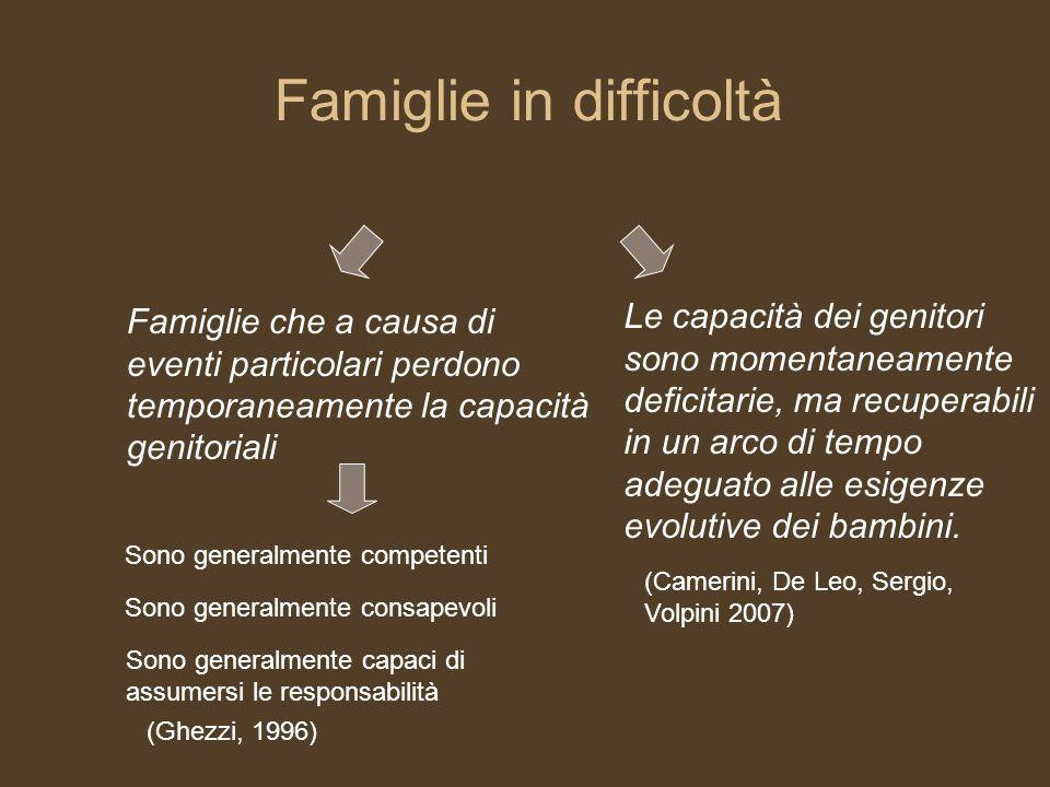 Famiglie in difficoltà Sono generalmente consapevoli Sono generalmente competenti Sono generalmente capaci di assumersi le responsabilità Famiglie che