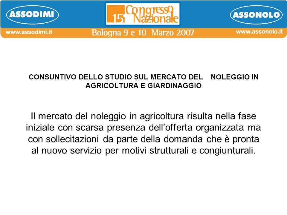 CONSUNTIVO DELLO STUDIO SUL MERCATO DEL NOLEGGIO IN AGRICOLTURA E GIARDINAGGIO Il mercato del noleggio in agricoltura risulta nella fase iniziale con