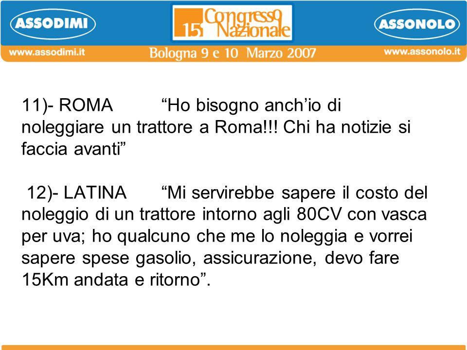 11)- ROMA Ho bisogno anchio di noleggiare un trattore a Roma!!! Chi ha notizie si faccia avanti 12)- LATINAMi servirebbe sapere il costo del noleggio