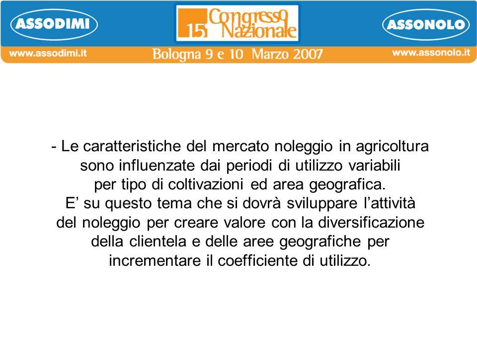 - Le caratteristiche del mercato noleggio in agricoltura sono influenzate dai periodi di utilizzo variabili per tipo di coltivazioni ed area geografic