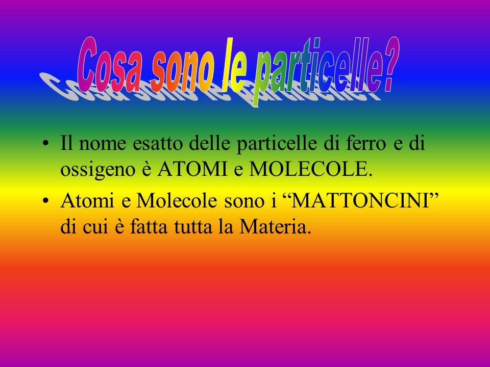 Il nome esatto delle particelle di ferro e di ossigeno è ATOMI e MOLECOLE.
