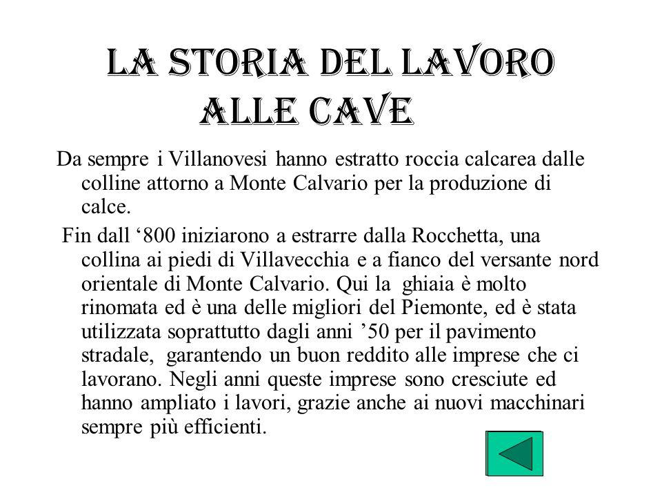 La storia del lavoro alle cave Da sempre i Villanovesi hanno estratto roccia calcarea dalle colline attorno a Monte Calvario per la produzione di calc