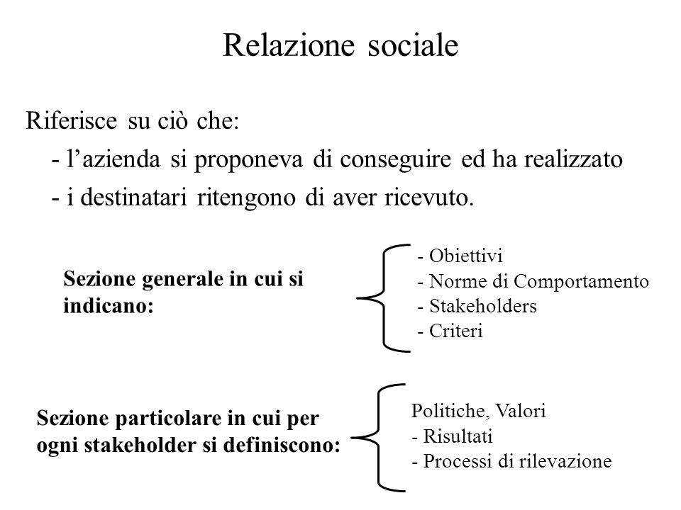 Relazione sociale Riferisce su ciò che: - lazienda si proponeva di conseguire ed ha realizzato - i destinatari ritengono di aver ricevuto. Sezione gen