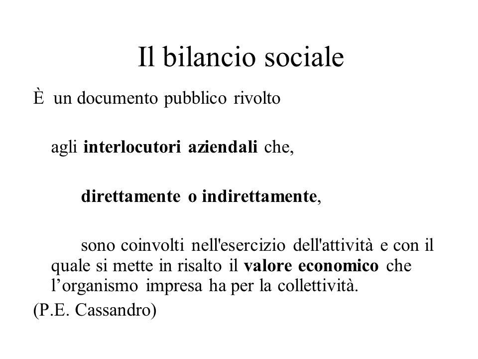 Il bilancio sociale È un documento pubblico rivolto agli interlocutori aziendali che, direttamente o indirettamente, sono coinvolti nell esercizio dell attività e con il quale si mette in risalto il valore economico che lorganismo impresa ha per la collettività.