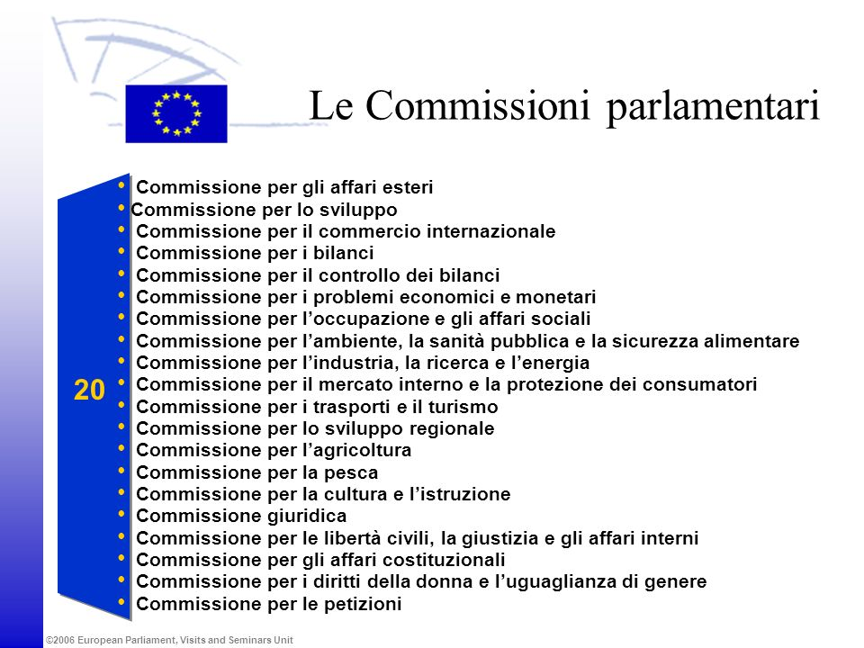 ©2006 European Parliament, Visits and Seminars Unit Le Commissioni parlamentari Commissione per gli affari esteri Commissione per lo sviluppo Commissi