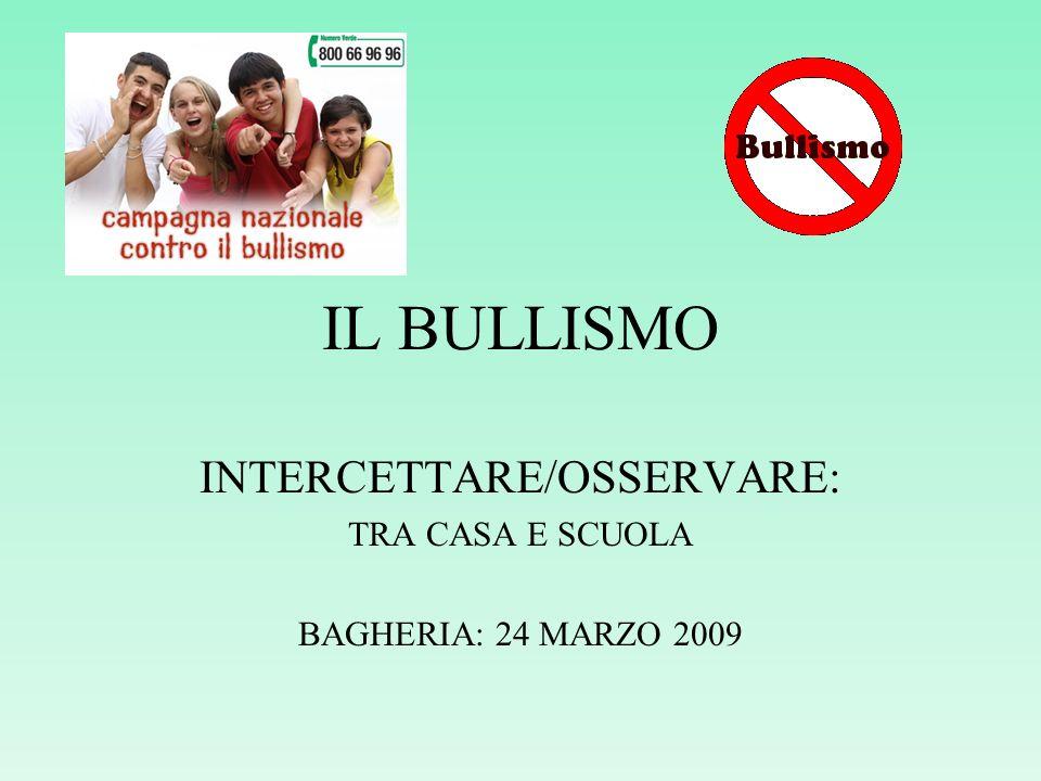 IL BULLISMO INTERCETTARE/OSSERVARE: TRA CASA E SCUOLA BAGHERIA: 24 MARZO 2009