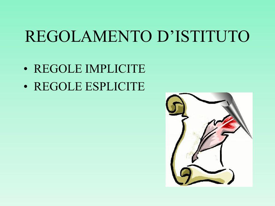 REGOLAMENTO DISTITUTO REGOLE IMPLICITE REGOLE ESPLICITE