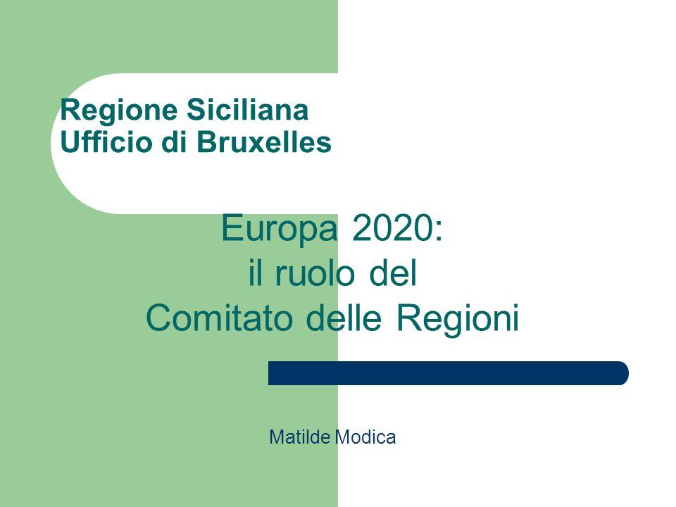 Regione Siciliana Ufficio di Bruxelles Matilde Modica Europa 2020: il ruolo del Comitato delle Regioni