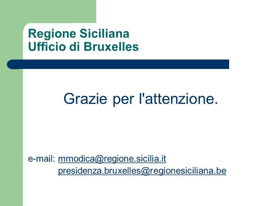 Regione Siciliana Ufficio di Bruxelles Grazie per l'attenzione. e-mail: mmodica@regione.sicilia.itmmodica@regione.sicilia.it presidenza.bruxelles@regi