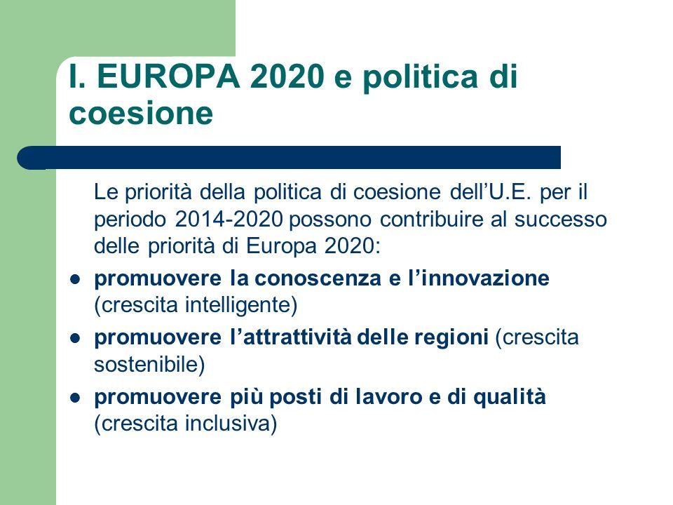 I. EUROPA 2020 e politica di coesione Le priorità della politica di coesione dellU.E. per il periodo 2014-2020 possono contribuire al successo delle p