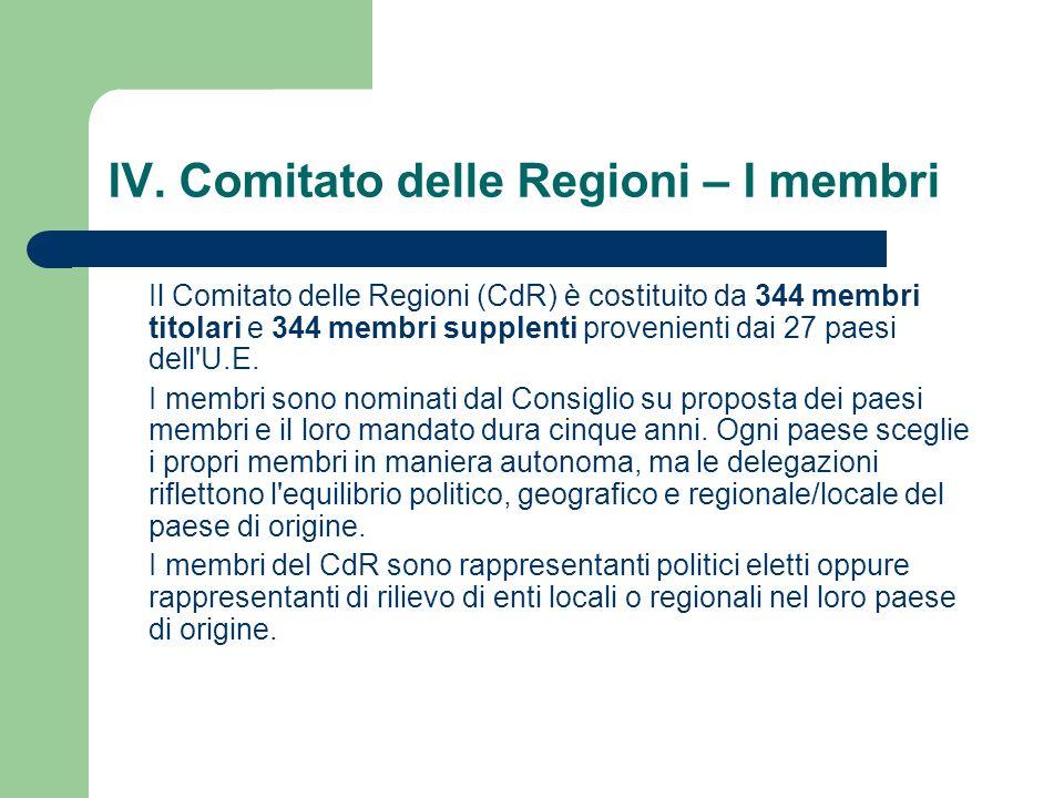 IV. Comitato delle Regioni – I membri Il Comitato delle Regioni (CdR) è costituito da 344 membri titolari e 344 membri supplenti provenienti dai 27 pa