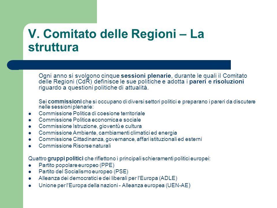 V. Comitato delle Regioni – La struttura Ogni anno si svolgono cinque sessioni plenarie, durante le quali il Comitato delle Regioni (CdR) definisce le