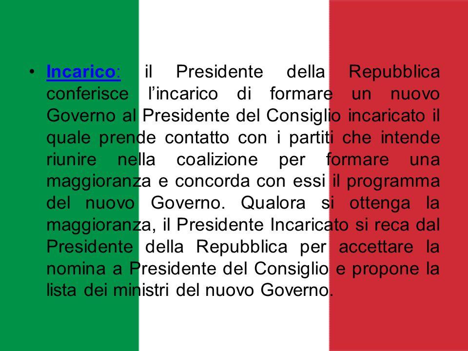 Incarico: il Presidente della Repubblica conferisce lincarico di formare un nuovo Governo al Presidente del Consiglio incaricato il quale prende conta