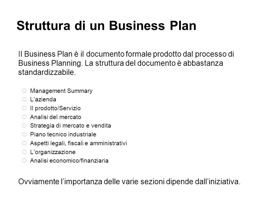 Struttura di un Business Plan Il Business Plan è il documento formale prodotto dal processo di Business Planning. La struttura del documento è abbasta