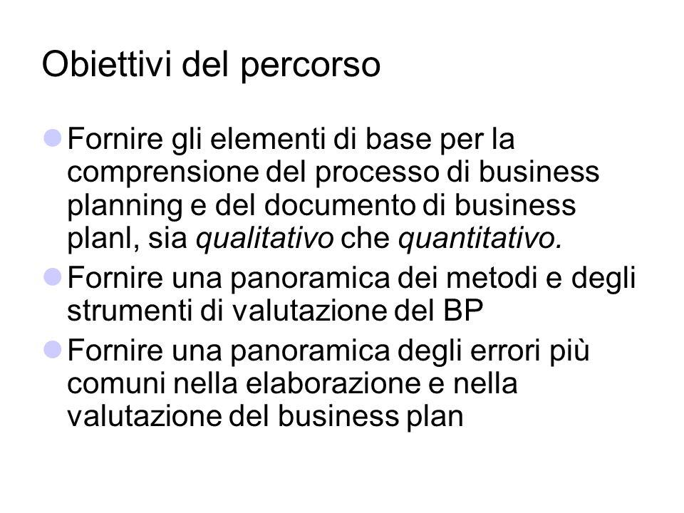 Obiettivi del percorso Fornire gli elementi di base per la comprensione del processo di business planning e del documento di business planl, sia quali