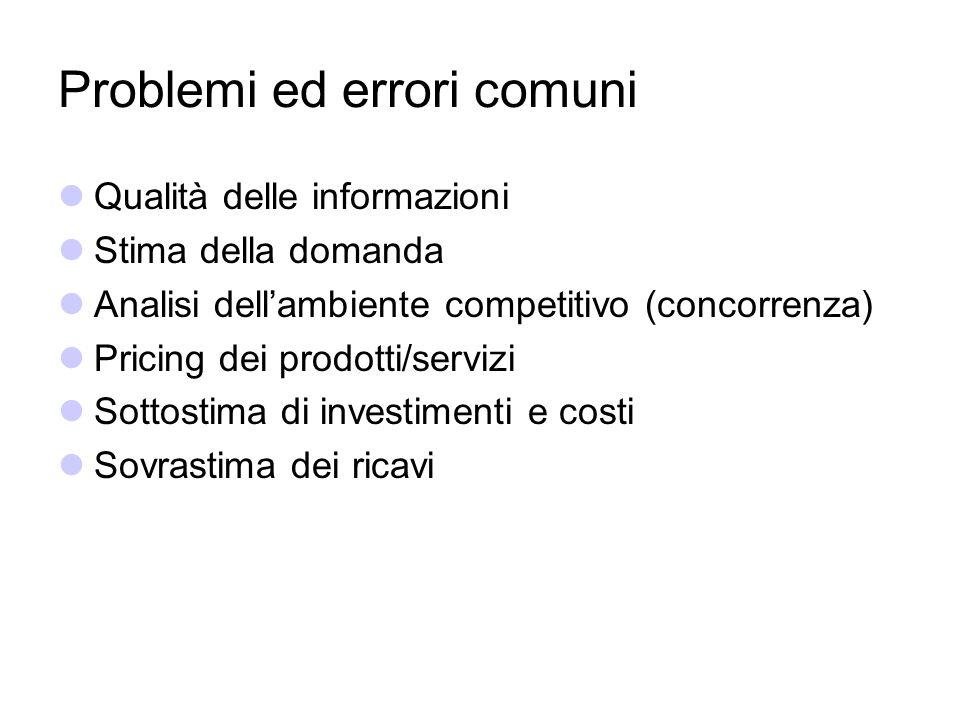 Problemi ed errori comuni Qualità delle informazioni Stima della domanda Analisi dellambiente competitivo (concorrenza) Pricing dei prodotti/servizi S