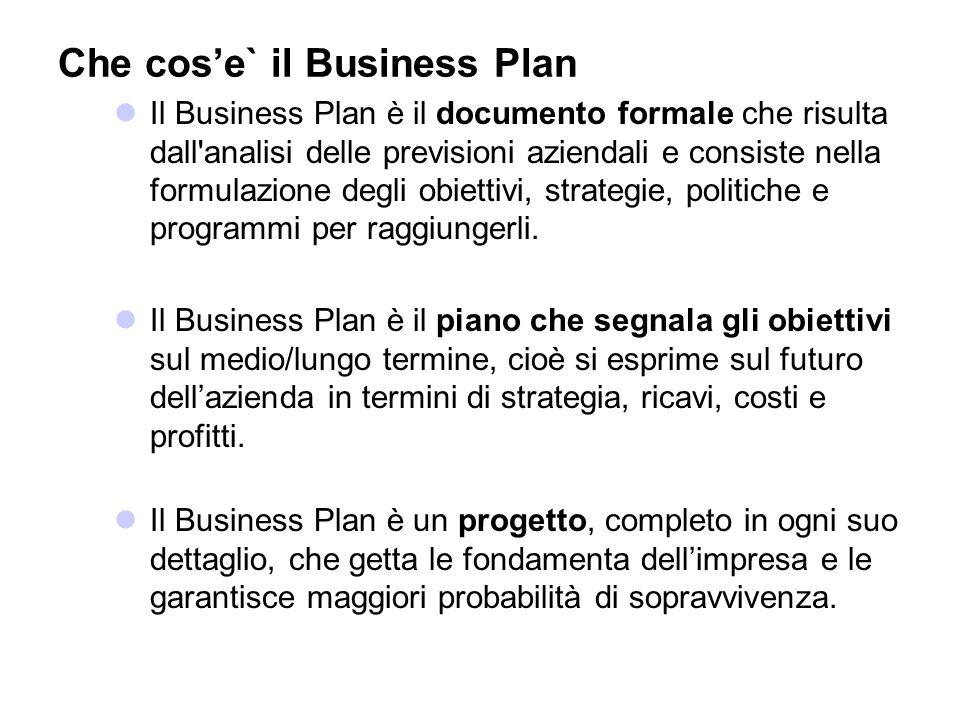 Che cose` il Business Plan Il Business Plan è il documento formale che risulta dall'analisi delle previsioni aziendali e consiste nella formulazione d