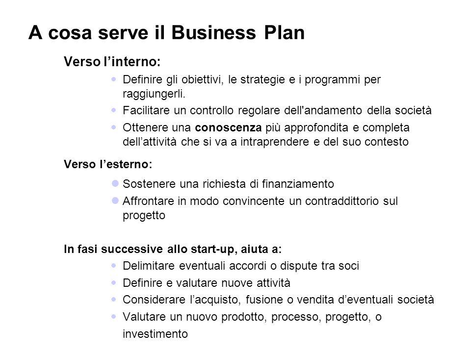 A cosa serve il Business Plan Verso linterno: Definire gli obiettivi, le strategie e i programmi per raggiungerli. Facilitare un controllo regolare de