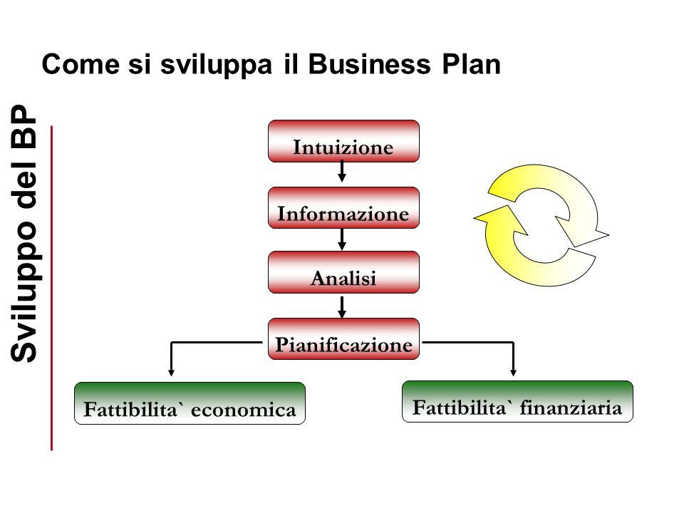 Come si sviluppa il Business Plan Intuizione Informazione Analisi Pianificazione Fattibilita` finanziaria Fattibilita` economica Sviluppo del BP