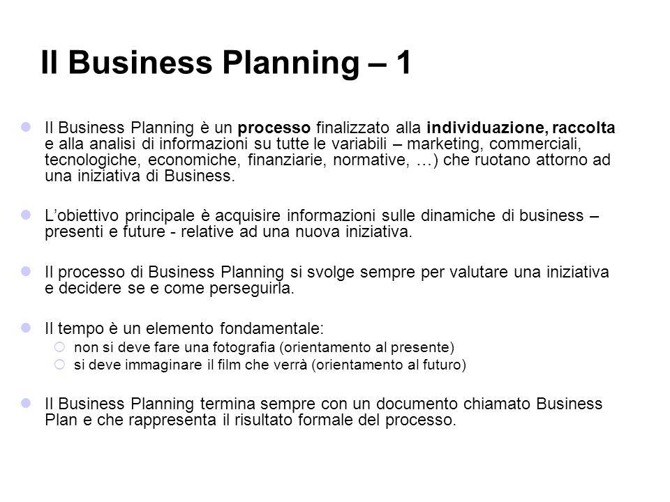 Il Business Planning è un processo finalizzato alla individuazione, raccolta e alla analisi di informazioni su tutte le variabili – marketing, commerc