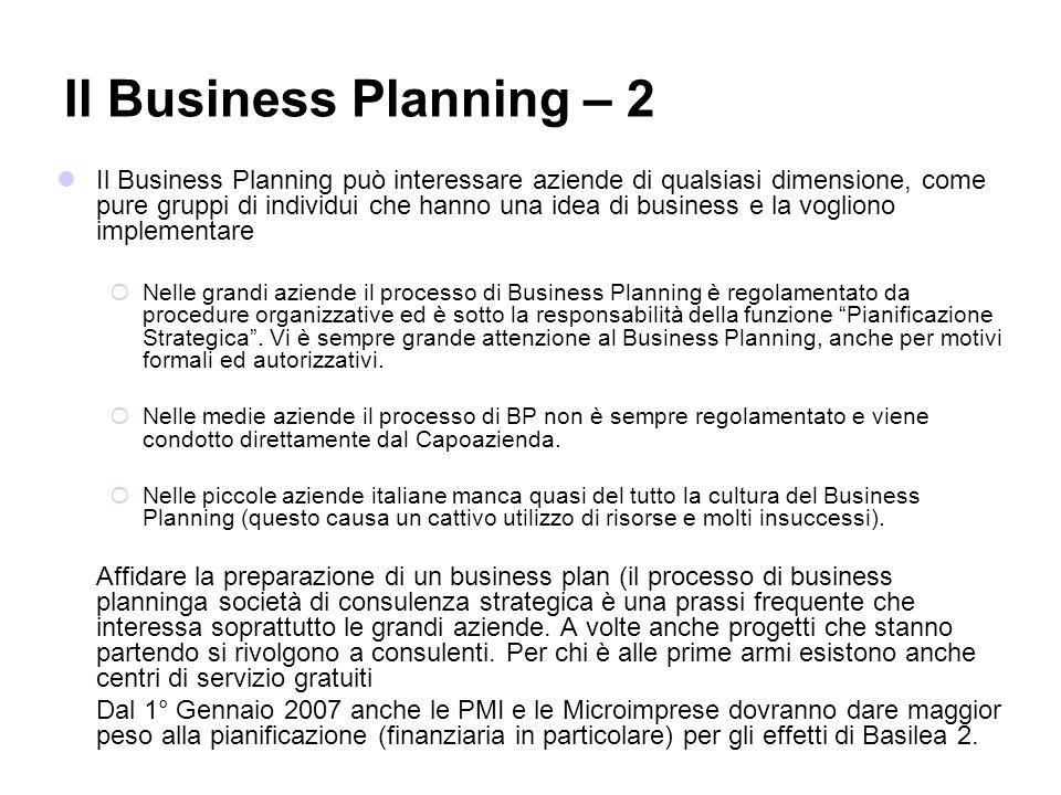 Il Business Planning può interessare aziende di qualsiasi dimensione, come pure gruppi di individui che hanno una idea di business e la vogliono imple