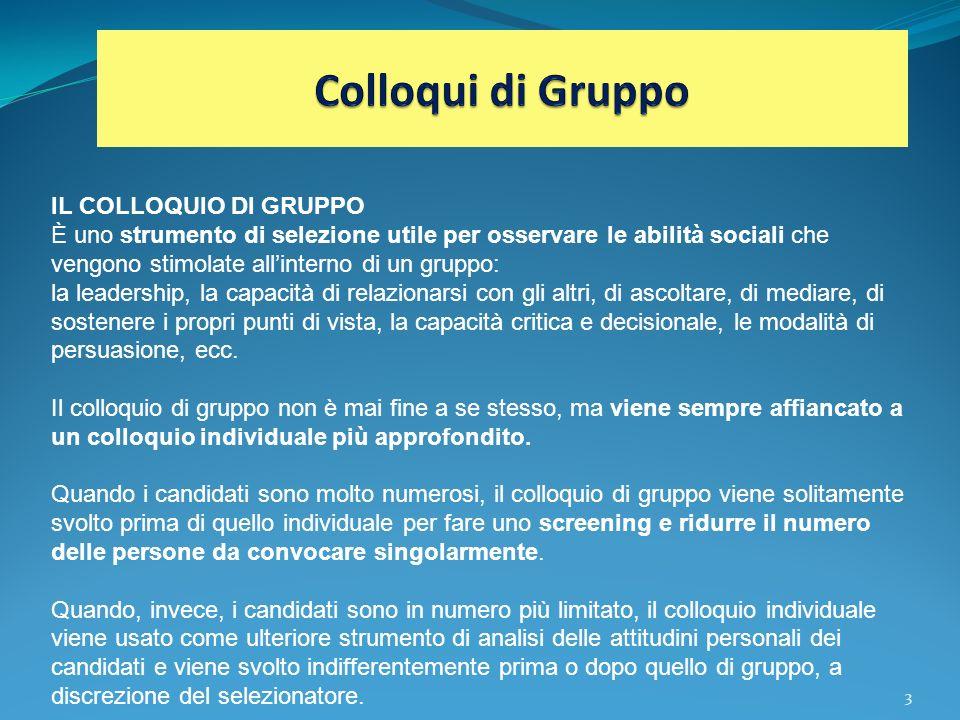 3 IL COLLOQUIO DI GRUPPO È uno strumento di selezione utile per osservare le abilità sociali che vengono stimolate allinterno di un gruppo: la leaders