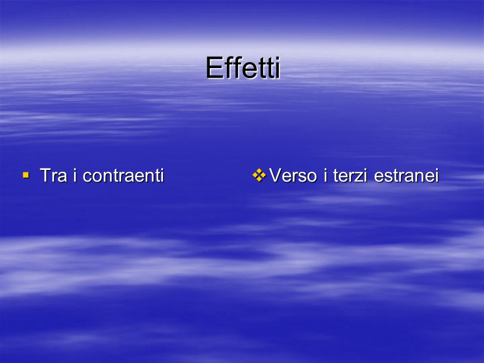 Effetti Tra i contraenti Tra i contraenti Verso i terzi estranei Verso i terzi estranei